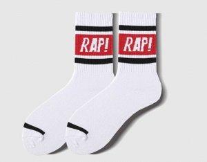 """Носки унисекс, надпись """"rap!"""", цвет красный на белом"""