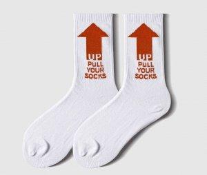 """Носки унисекс, надпись """"up pull your socks"""", цвет красный на белом"""