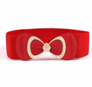Женский ремень-резинка, пряжка бант, цвет красный