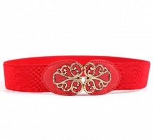 Женский ремень-резинка, цвет красный
