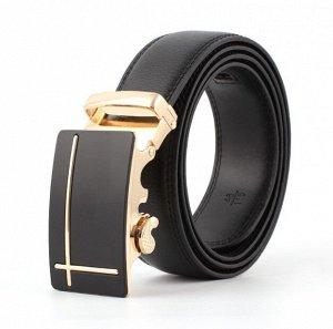 Мужской ремень из экокожи, металлическая пряжка, цвет черный/золотой