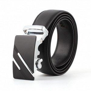 Мужской ремень из экокожи, металлическая пряжка, цвет черный/серебряный