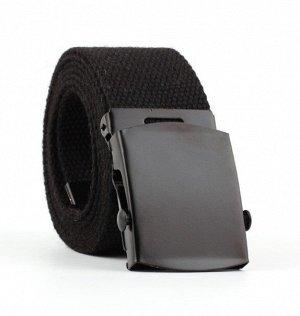 Текстильный ремень унисекс, металлическая квадратная пряжка с фиксатором, цвет черный