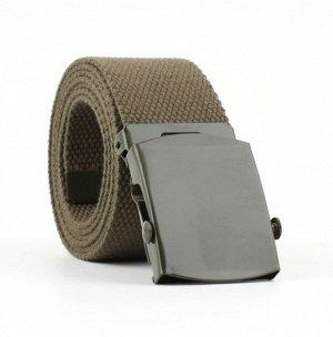 Текстильный ремень унисекс, металлическая квадратная пряжка с фиксатором, цвет хаки