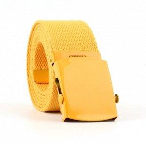Текстильный ремень унисекс, металлическая квадратная пряжка с фиксатором, цвет желтый