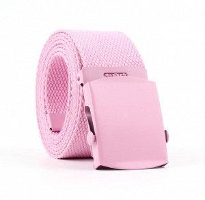 Текстильный ремень унисекс, металлическая квадратная пряжка с фиксатором, цвет розовый