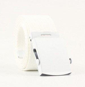 Текстильный ремень унисекс, металлическая квадратная пряжка с фиксатором, цвет белый