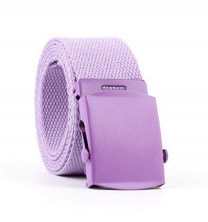Текстильный ремень унисекс, металлическая квадратная пряжка с фиксатором, цвет фиолетовый