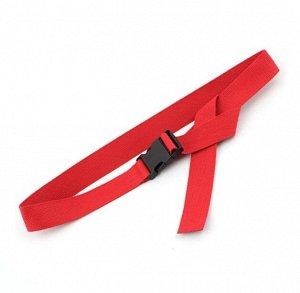 Текстильный ремень унисекс, пряжка фастекс, цвет красный