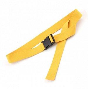 Текстильный ремень унисекс, пряжка фастекс, цвет желтый