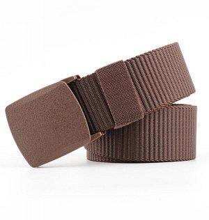 Текстильный ремень унисекс, металлическая квадратная пряжка с фиксатором, цвет коричневый