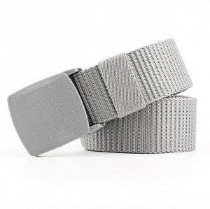 Текстильный ремень унисекс, металлическая квадратная пряжка с фиксатором, цвет серый