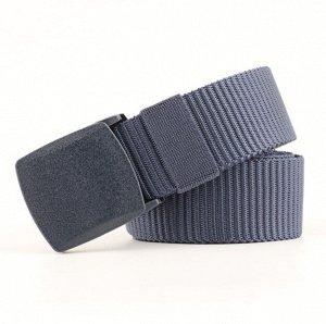 Текстильный ремень унисекс, металлическая квадратная пряжка с фиксатором, цвет темно-синий