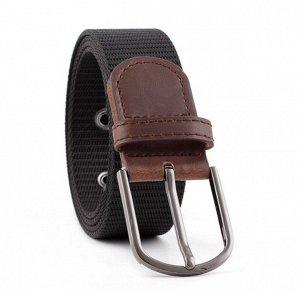 Текстильный ремень унисекс, металлическая овальная пряжка, цвет черный