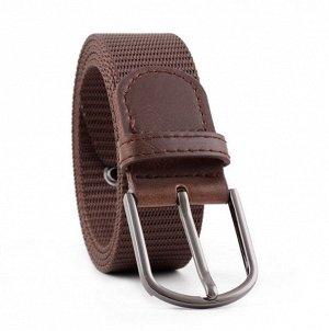 Текстильный ремень унисекс, металлическая овальная пряжка, цвет коричневый