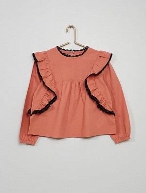Блузка Материал верха 100% ХЛОПОК; Блузка для юной леди! Отличный выбор расцветок! <br>- Блузка <br>- 100% хлопок, выращенный в рамках стандартов органического земледелия <br>- Длинные рукава с резинк
