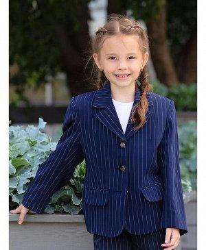 Синий пиджак для девочки Цвет: синий полоска