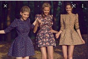 Платье велюр в цветок известного русского дизайнера