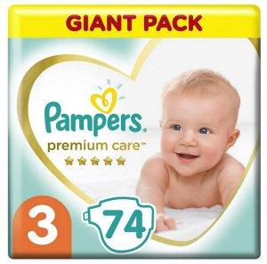 PAMPERS Подгузники Premium Care Midi (6-10 кг) Упаковка 74 штуки