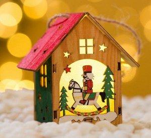 """Подвесное новогоднее украшение с подсветкой """"Домик"""""""