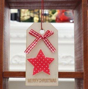 """Новогоднее подвесное украшение, Декор """"Звезда и бант"""", надпись """"Merry Christmas"""""""