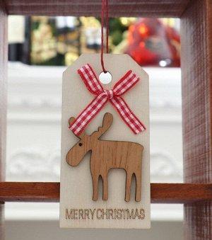 """Новогоднее подвесное украшение, Декор """"Олень и бант"""", надпись """"Merry Christmas"""""""