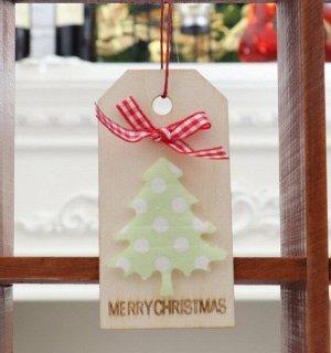 """Новогоднее подвесное украшение, Декор """"Елка и бант"""", надпись """"Merry Christmas"""""""