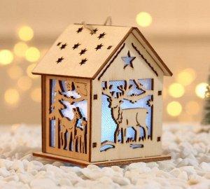 """Новогоднее подвесное украшение с подсветкой """"Домик"""""""