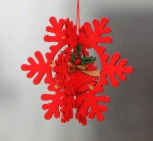 """Новогоднее подвесное украшение """"Красная снежинка"""""""