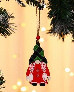 """Новогоднее подвесное украшение """"Гномик с косичками в зеленой шапке"""""""