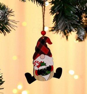 """Новогоднее подвесное украшение """"Гномик в красной шапке"""""""