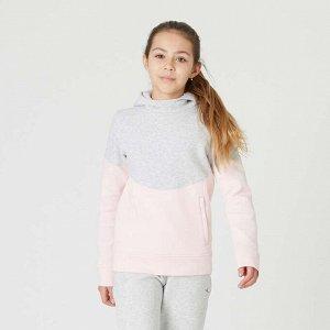 Толстовка с капюшоном и карманами на молнии для девочек серо-розовая