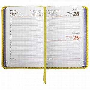 """Ежедневник датированный 2022 МАЛЫЙ ФОРМАТ 100х150 мм А6, BRAUBERG """"Rainbow"""", под кожу, желтый, 112923"""