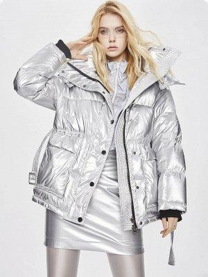 Пуховое пальто на молнии с кожаным эффектом, поясом и капюшоном