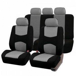 Чехлы для авто CARFORT Raccoon, полный комплект для седана, ткань, черный с серым (1/10)