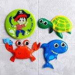 Игрушки для купания «Морские приключения» (набор 3 шт) + мини-коврик на присосах