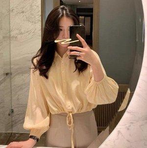 Женская укороченная блуза с длинным рукавом, цвет абрикосовый