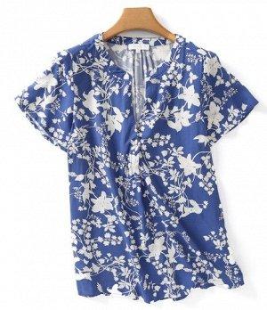 """Женская блуза с коротким рукавом, принт """"Цветы"""", цвет синий"""