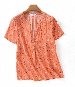 """Женская блуза с коротким рукавом, принт """"Цветы"""", цвет оранжевый"""