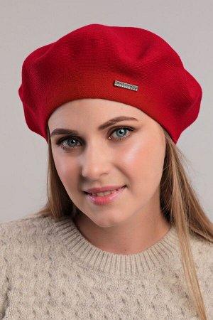 Берет Женский берет - 54-58 см, красный, Шерсть 50% - полиамид 50%