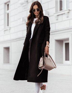 Женское пальто с поясом, цвет черный
