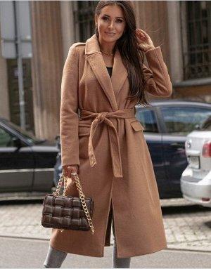 Женское пальто с поясом, цвет хаки