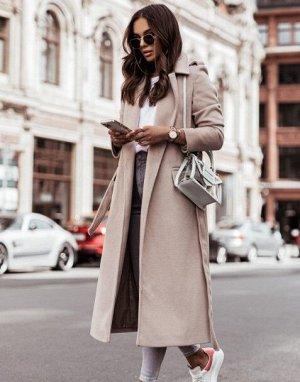 Женское пальто с поясом, цвет абрикосовый