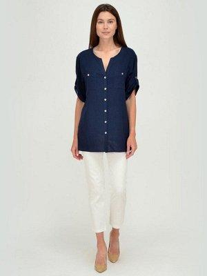 Блуза синяя с короткими рукавами и разрезами по бокам