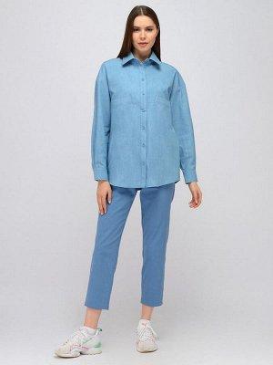 Блуза синяя с отложным воротником и длинными рукавами