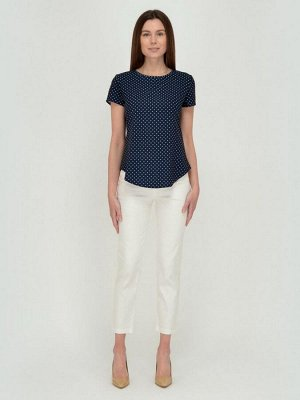 Блуза синяя с принтом приталенная