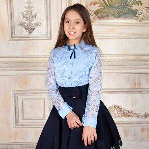Блузка Соль&Перец длинный рукав с брошью 34 голубой