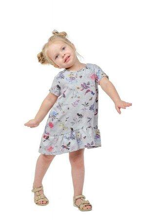 Платье Платье из эластичного футерованного хлопкового полотна очень тонкого и нежного, печать диджитал. Свободного силуэта. Чуть выше колена. Ассиметричным нижнем краем, спинка ниже полки. Боковой шов