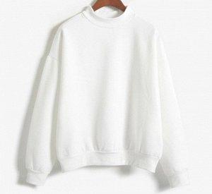Женский однотонный теплый свитшот, цвет белый