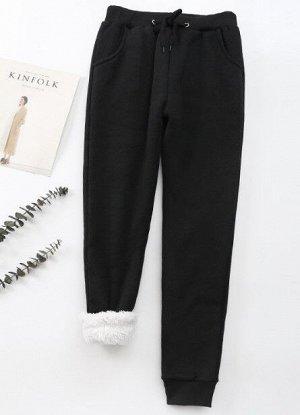 Женские утепленные брюки, цвет черный